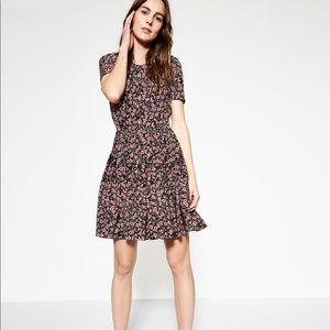 The Kooples Black Silk Dress Floral Forget Me Not